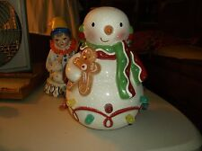 Hallmark Seasons Treatings Gumdrop Snowman w Gingerbread Man Musical Lights 2010