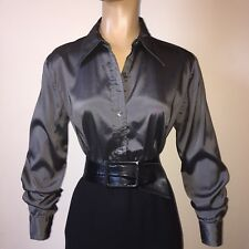 "M GAP Pewter Silver SWISHY Shiny SATIN BLOUSE 38-40"" Bust Vtg Fitted Stretch Top"