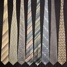 8 Men's Ties Green Gold Zylos Van Heusen Stafford Geoffrey Beene Silk Tie Lot
