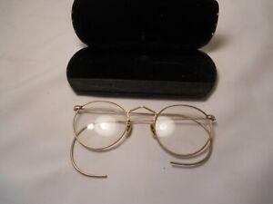 VINTAGE  ROUND RIM GLASSES 1/10 12k GF HIBO with case  ( bifocal )