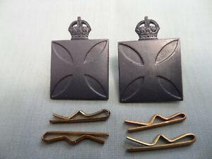 WW2 Era 1930/42 Australian Army Militia Chaplian Collar Badge Pair + Split Pins