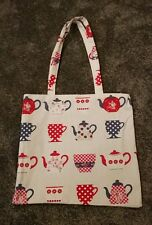 tote shopping bag   tea cups teapots  spotty