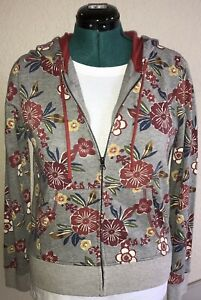NWT Small Lucky Brand Zip Up Hoodie Sweatshirt Gray Multi Floral Jacket