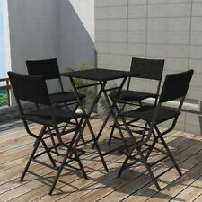 Black Poly Rattan Dining Bar Set Table 4 Folding Chairs Outdoor Coffee Furniture