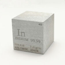 1 inch 25.4mm Pure Indium Metal Cube 120g 99.99% Engraved Periodic Table