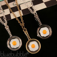 FUNKY FRYING PAN FRIED EGG NECKLACE 50s DINER BREAKFAST COOL FUN RETRO FOOD GIFT