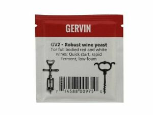 Gervin GV2 Robust Wine Yeast 5g Sachet For Full Bodied Red & White Wine Homebrew