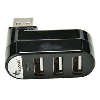 Mini 3 Port USB 2.0 Rotating Splitter Adapter Hub For PC Laptop Notebook Ma zz