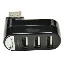 Mini 3 Port USB 2.0 Rotating Splitter Adapter Hub For PC Laptop Notebook Ma Pn
