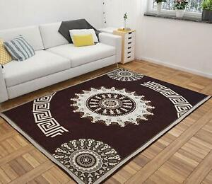 Coffee Brown Printed Traditional Carpet Of Chenille - 5 ft x 7 ft For Home Decor