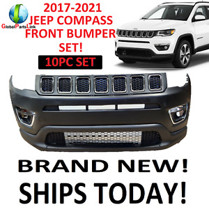 2017 2018 2019 2020 2021 JEEP COMPASS FRONT BUMPER SET UPPER LOWER GRILL FOGS