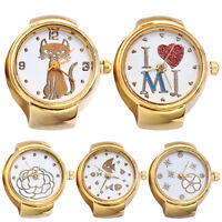 EE_ Lady Girl Golden Tone Round Elastic Alloy Quartz Watches Finger Ring Watch S