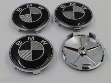 4X BMW Schwarz Carbon 68mm NABENKAPPEN NABENDECKEL FELGENDECKEL RADNABENDECKEL