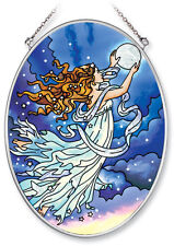 MOON FAIRY Suncatcher Hand Painted Glass AMIA 7x5 Oval Blue Stars Clouds New