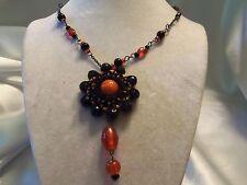 Antiqued Silvertone Chain w/ BLACK & ORANGE Glass WOVEN Pendant Necklace 14N680
