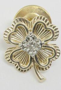 MENS 14K YELLOW GOLD IRISH FOUR LEAF CLOVER DIAMOND TIE TAC