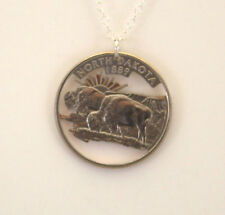North Dakota, Cut-Out Coin Jewelry, Necklace/Pendant