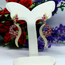 NATURAL PINK RED RUBY, PURPLE AMETHYST & CZ LONG EARRINGS 925 STERLING SILVER