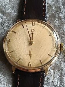 Rare Dial Gents Vintage Gold Plated CERTINA 17J Mechanical Hand Wind Wristwatch