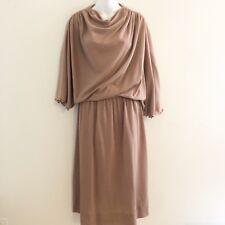 Vintage Nardis of Dallas Womens Dress Brown Batwing Braided Belt Custom Tailored