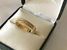 Estate 14k Yellow Gold 3mm Channel Set Diamond Half Eternity Band Ring 2.8g 8.25
