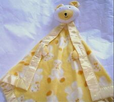 Vintage Security BEAR baby Blanket Puppet Lovey Fisher Price? WIDE Silky Edge