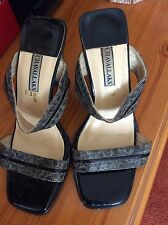 Woman's Strappy Slip On Shoes Snake Skin Design Size 3-4 High Heel
