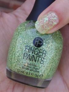 NEW FingerPaints Nail Polish SHOWER WITH FLOWERS Finger Paints GREEN GLITTER