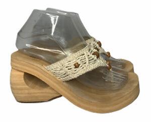Womens Skechers SOMETHIN' ELSE Ivory Crochet Beaded Wedge Sandals Retro Size 7