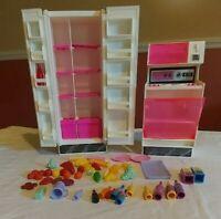 Vtg Mattel Barbie Kitchen Refrigerator Stove Oven accessories lot
