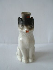 Antique Novelty Cat Shaped Porcelain Perfume Bottle  -  VIOLETTE DE PARME