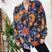 Vintage 80s Floral Shirt Blouse Blue Grey Orange Cottagecore Grunge Sz 16 18 20