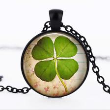 FOUR Leaf CLOVER Black Glass Cabochon Necklace chain Pendant Wholesale