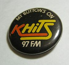 1970s KHTZ Los Angeles CA My Button is on KHits Pinblack Button