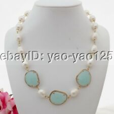 "K083009 21"" White Rice Pearl Crystal Connector Necklace"