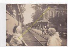 Rare Original Photo MADAGASCAR Gare soanierana avec Train et voyageurs