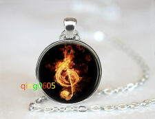 Music note on fire glass dome Tibet silver Chain Pendant Necklace wholesale