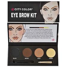 City Colour Color Eye Brow Kit, Black, Brown, Wax Primer, Tweezers, Angled Brush