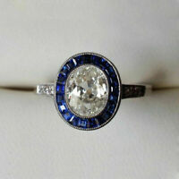 2.10Ct Oval Cut D/VVS1 Diamond Halo Engagement Wedding Ring 14K White Gold Over