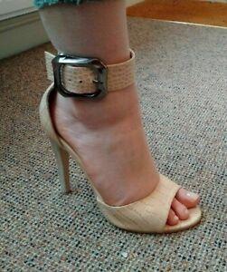 Womens Beige Heel Stiletto Ankle Strap Buckle Sandals Evening Dress Shoe London