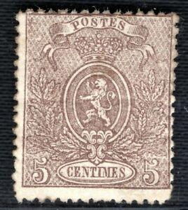 Belgium 1867 5c COAT OF ARMS fresh mint large part OG Scott.26b cat$175 RGREEN91