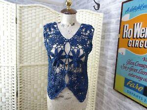 vintage ONE STEP UP cotton ramie boho lacy cardigan crochet  size S/M PB561