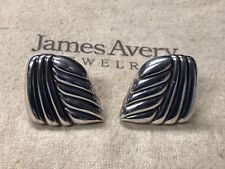 James Avery Rare Retired Sterling Silver Large Clip On Earrings, Hollow