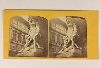 Italia Florence Loggia Dei Lanzi Scultura Artistico Foto Stereo Vintage c1860