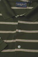 Bobby Jones Men's Green White & Yellow Stripe Cotton Golf Polo Shirt S Small