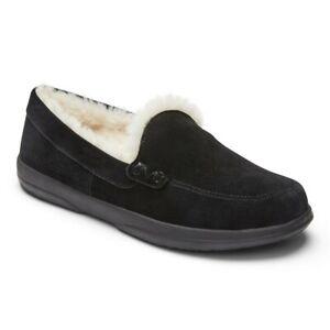 Womens Vionic Lynez Luxury Suede Shearling Slippers Black