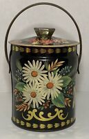 Vtg Murray-Allen Confections English Tin W/Handle Black With Daisy Design Empty