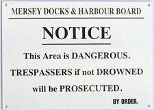 Mersey Muelles Warning Esmalte Letrero Pared Acero 180mm X 130mm ( Dp )