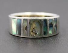 Sterling Silver Abalone Inlay Ring Size 7.75 / 4.2g