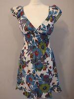RUBY ROCKS Ladies Size S Grey/Blue Floral Sleeveless Stretch Summer Skater Dress